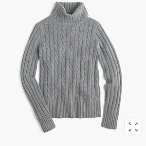 J Crew Cambridge cable chunky turtleneck sweater